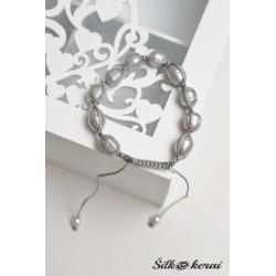 Perlų apyrankė pilka