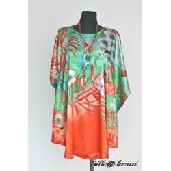 Šilkinė-suknelė-žalia-su-raudonu